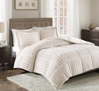 Borrero Faux Fur 3 Piece Comforter Mini Set, Queen