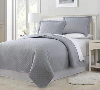 Seraphina Premium Embossed Quilt Set Queen, Light Grey