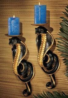 (2) Renenutet Egyptian Cobra Goddess Plastic Candelabra Sconces
