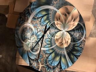 """Modern Designart Symmetrical Fractal Flower Modern Wall Clock 23"""", Dented"""