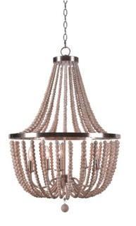 Tilden Wood Bead 5-Light Empire Chandelier Brushed Steel With Wooden Beeds