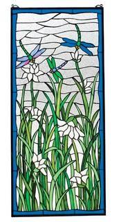 Dragonflies Dance Stained Glass Window 40'' H x 18'' W