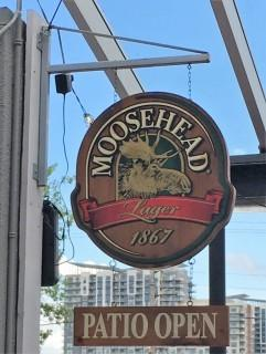 "Wooden Moosehead ""Patio Is Open"" Sign"