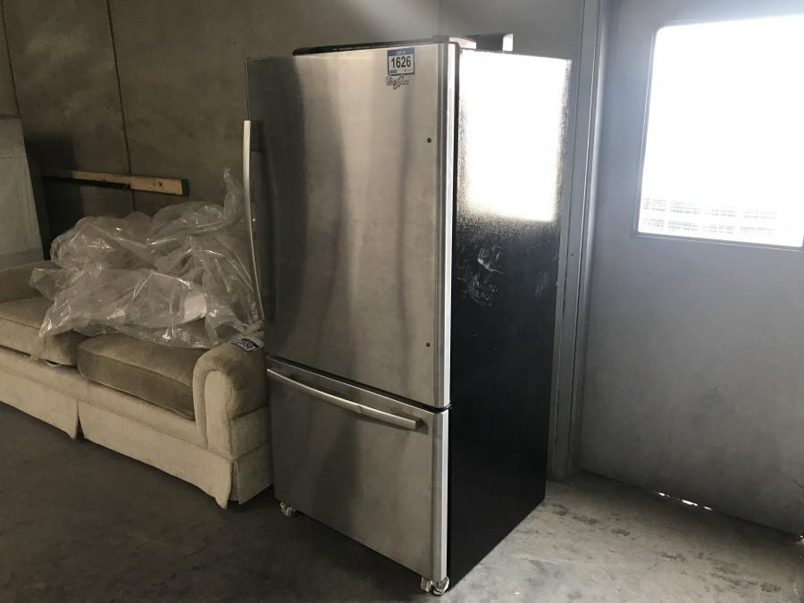 Whirlpool Model GB2FHDXWS07 22 cu.ft. Stainless Steel Refrigerator w/ Bottom Freezer & Ice Machine.