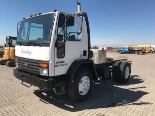 1992 Ford Cargo 7000 S/A C&C  c/w Ford Diesel, 6 Spd, A/C, Muncie PTO, 11R22.5 Tires S/N 1FDWH70P0NVA27021.