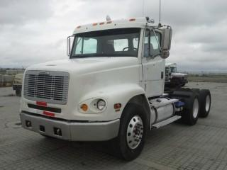 2000 Freightliner T/A Truck Tractor c/w Cat C-10, 10 Spd, Day Cab, Air Ride Susp., 11R22.5 Tires. S/N 1FUYTEDB5YHB83603. Showing 395,855 Kms.
