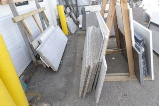 Qty Of Assorted Size Pieces Of Granite C/w Wood Storage Stand