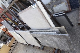 Qty Of Assorted Size Pieces Of Granite C/w Storage Stand