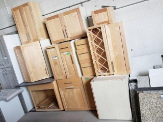 Qty Of Western Maple Base Cabinets And Wall Cabinets
