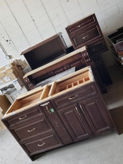 Qty Of Hard Rock Maple Cabinets And (2) Mantles
