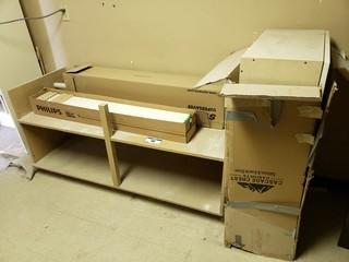 2-Tier Stand 5'2 X 2' X 2'5 C/w (2) Boxes Of 4ft Fluorescent Lights And Cabinet