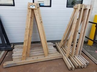 Qty (14) Of Wood Stands