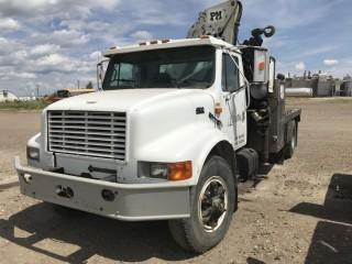 Selling Off-Site  2000 International 4900 DT466E SBA 4x2 S/A Deck Truck c/w AutoGru PM14524 Knuckle Crane S/N 1HTSDAARXYH315078 Located in Taber, AB Call Tim 403-968-9430 For Further Information.