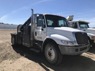 Selling Off-Site  2005 International 4300 DT466 SBA 4x2 Deck Truck c/w Ferrari FE 601A2 Knuckle Crane S/N  1HTMMAAP35H146346. Located in Taber, AB Call Tim 403-968-9430 For Further Information.