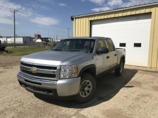 Selling Off-Site 2010 Chev 1500 Silverado 4x4 Crew Cab P/U c/w Auto, A/C. Showing 177,604 Kms. Requires Engine Repair. Location: 339 Aquaduct Dr., Brooks, AB Call Tim For Further Information 403-968-9430. S/N 3GCRKSE35AG11807.
