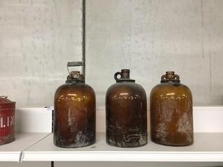 Lot of (3) Antique 1 Gallon Glass Jugs.