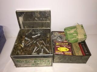 Metal Boxes Containing Assorted Nuts, Bolts & Staples.