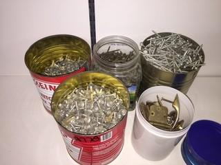 Lot of Assorted Screws, Hinges & Hardware.