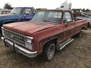 1980 Chev Silverado P/U c/w V8, Auto, Long Box. Not Running. S/N CCL44A1169993.