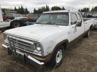 1973 Dodge Adventurer 1/2 Ton Extended Cab c/w V8, Auto, Long Box. Not Running. S/N D17AF3SR05869.
