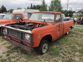 1971 International 4x4 Truck c/w V8, 4 Spd, Long Box. Not Running S/N BY3108H191896