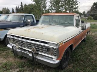 1974 Ford F100 1/2 Ton P/U c/w V8, Auto, Long Box. Not Running. S/N F10YRU47721.