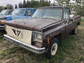 1978 Chev Scottsdale 4x4 P/U c/w V8, 4 Spd, Long Box. Not Running. S/N CKL2481131109.