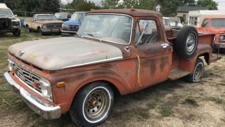 1965 Mercury M100 Truck c/w 6 Cyl, 4 Spd, Long Box, Step Side. Not Running. S/N 5831028L-158235A.
