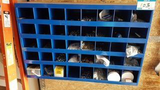 Lot 40 Hole Wall Mounted Parts Rack w/ Contents