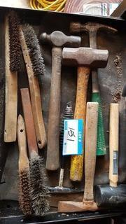 Lot Drawer Asst'd Wire Brushes & Hammers