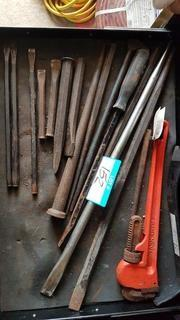"""Lot Drawer Asst'd Size Chisels, Crowbars & 18"""" Pipe Wrench"""