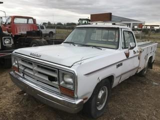 1988 Dodge Ram 1 Ton P/U c/w V8, Auto, Mechanics Box. Not Running. S/N 1B6KD454JS752282.
