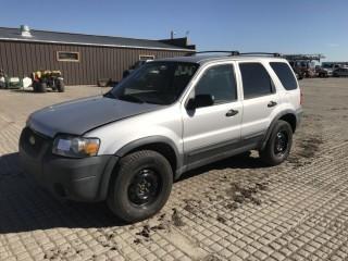 2005 Ford Escape 4x4 SUV c/w V6, Auto, A/C. Showing 213,778 Kms. S/N 1FMYU93125KB48304.