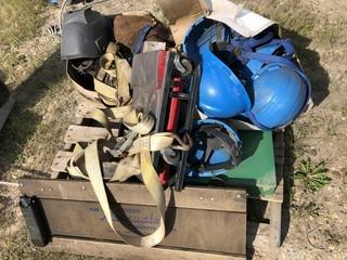 Qty Of Hard Hats, Straps And Misc Supplies