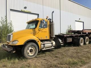 """2006 Coloumbia Freightliner T/A Bed Truck C/w Detroit S60, 515HP, 18Spd, 18ft Bed, Tulsa Winch, Ginn Poles, Flip Over 5th Wheel, Full Double Frame And 298"""" W/B. SN 1FVHA6CKX6PV57843"""