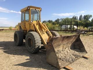 1980 John Deere 544B Wheel Loader C/w Q/A GP Bucket, 46in Forks, CAB And 17.5R25 Tires. Showing 8344 Hrs. SN 33975IT *Note: Item Cannot Be Removed Until 12PM September 26 Unless Mutually Agreed Upon*