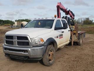 2012 Ram 5500 Flat Deck Boom Truck C/w Cummins Diesel, A/T, 4X4, 9ft Deck, Fassi F65 Picker, 6-Section Folding Boom And Boom Stand. Showing 360,862 KMS, Unit 328. VIN 3C7WDNFLXCG233352