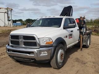 2012 Dodge Ram 4500 4X4 Crew Cab Flat Deck Boom Truck C/w Cummins Diesel, A/T, 7ft Deck, Fassi, 6-Section Folding Boom Crane, Radio Control, Hydraulic Out Riggers. Showing 254,393Kms. Unit 324. VIN 3C7RDLELXCG218050
