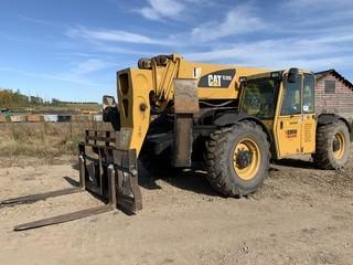 2008 CAT TL1255 12,000Lb 4X4X4 C/w Hyd Q/C Forks, 4-Section Boom, Front Hyd Outriggers, CAB, Hyd Leveling. Showing 9262Hrs. Unit 208. VIN TBNOO280