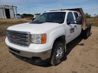2014 GMC 3500 HD 4X4 Crew Cab Flat Deck C/w 6.6L Turbo Diesel, A/T, 9ft Deck. Showing 113,643Kms. Unit 375. VIN 1GD423C88EF152090