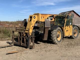 2008 CAT TL943 9000Lb 4X4X4 Telescopic Forklift C/w Hyd Q/C Forks, 3-Section Boom, Front Hyd Outriggers, CAB, Hyd Leveling. Showing 5047Hrs. Unit 236. VIN TBL01325