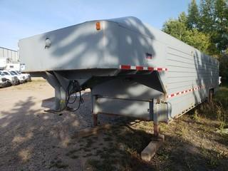 1997 Millco Steel 40ft Fifth Wheel T/A Dually Jobsite Trailer C/w Storage Cabinets And Lighting. VIN 2T9FV3429VB004007