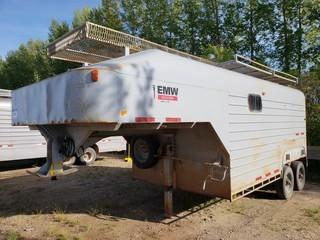 1998 Millco Steel 24ft T/A Fifth Wheel Enclosed Job Site Trailer C/w Cabinets. Unit 109. VIN 2T9FV1423WB004008