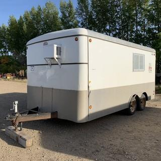 Cjay 16ft T/A Enclosed Job Site Trailer C/w A/C, Bench, Lighting. Unit 117. *Note: Rear Door Permanently Closed, Side Door Only* *SN OBL*