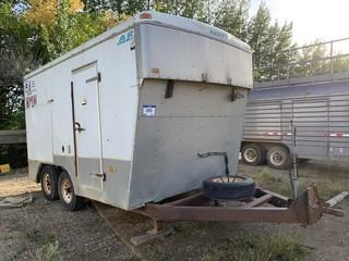 Argo T/A Enclosed Trailer C/w Shelving. *Note: Was A Fifth Wheel Converted To Tow Behind By Owner* *HOMEMADE*