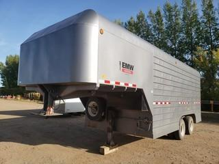 2017 Millco Steel 26ft Dual T/A Fifth Wheel Enclosed Job Site Trailer C/w Cabinets, Lighting, Gantry Crane. Unit 153. VIN 2T9FV1823HB004004