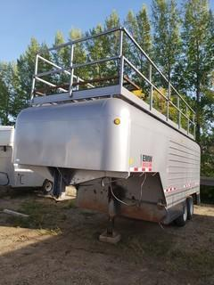 2011 Millco Steel 22ft Dual T/A Fifth Wheel Enclosed Job Site Trailer C/w Cabinets And Lighting. Unit 129. VIN 2T9FV1421BB004002