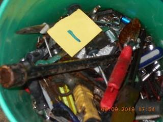 Bucket of Misc Tools. Tin snips, hammer, assorted wrenches