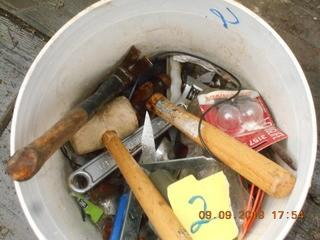 Bucket of Misc Tools. Rubber mallet, screw drivers, hammer