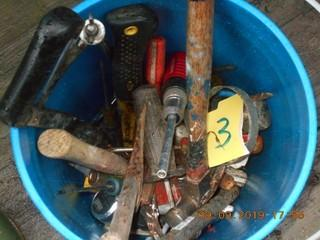 Bucket of Misc Tools. Hammer, wrenches, pry bar